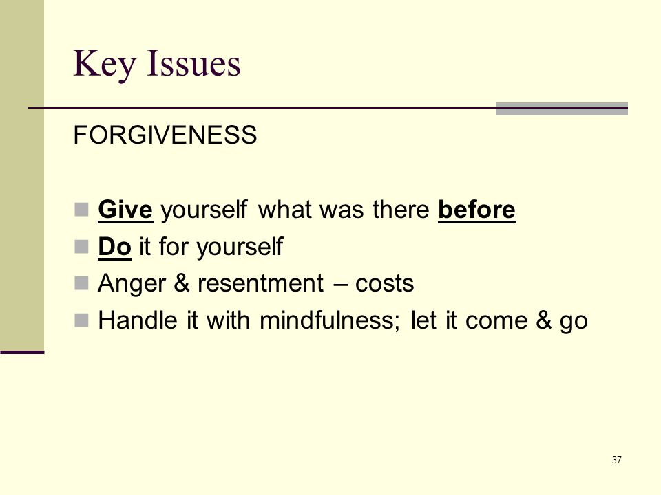 37 Key Issues FORGIVENESS Give yourself what was there before Do it for yourself Anger & resentment – costs Handle it with mindfulness; let it come &