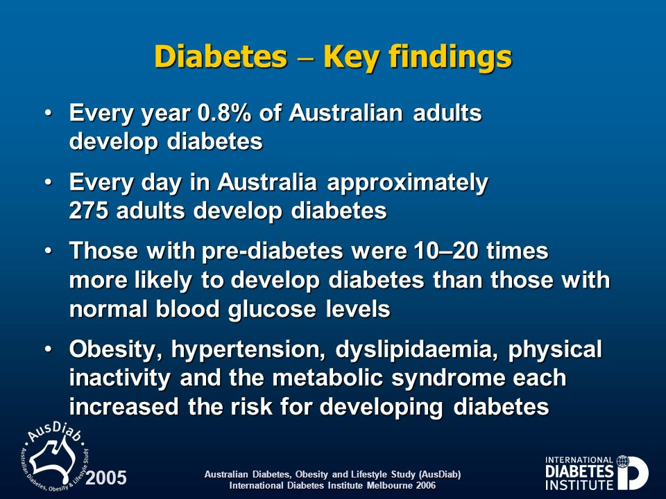 Australian Diabetes, Obesity and Lifestyle Study (AusDiab) International Diabetes Institute Melbourne 2006 2005 Diabetes Key findings Every year 0.8%