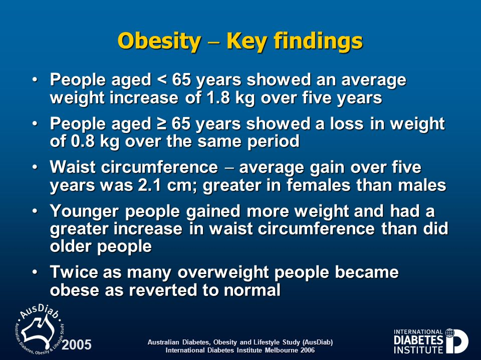 Australian Diabetes, Obesity and Lifestyle Study (AusDiab) International Diabetes Institute Melbourne 2006 2005 Obesity Key findings People aged < 65