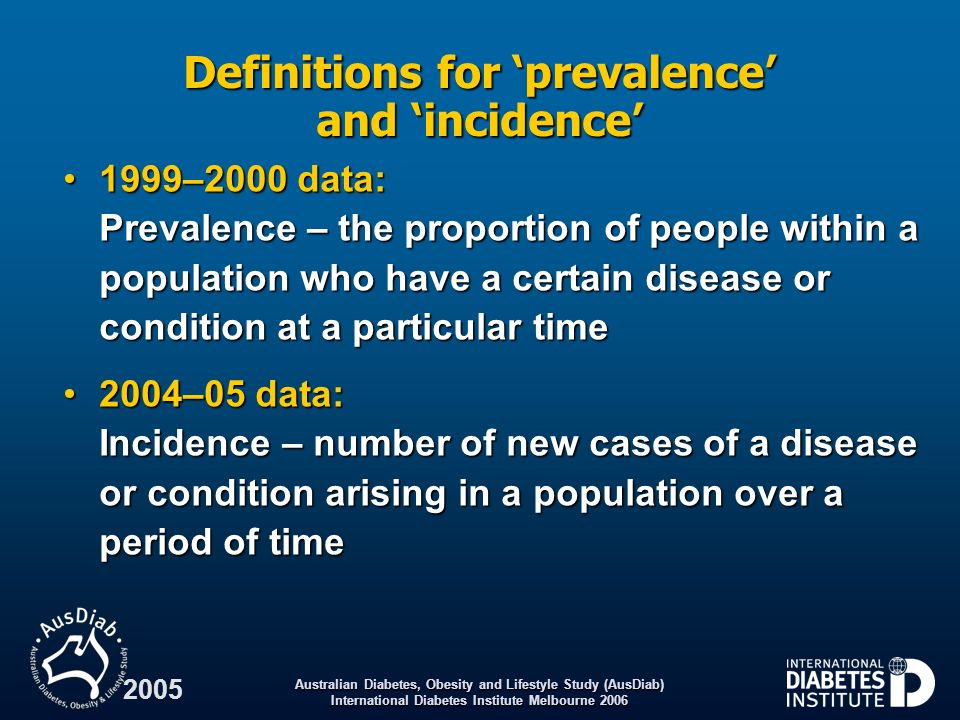 Australian Diabetes, Obesity and Lifestyle Study (AusDiab) International Diabetes Institute Melbourne 2001 From 1999–2000 report: Year Trends in the age-standardised* prevalence (%) of hypertension: 1980 – 2000 * Age standardised to the 1991 Australian population ABS.