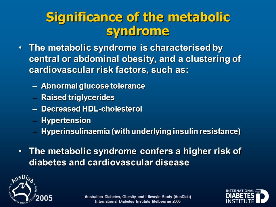 Australian Diabetes, Obesity and Lifestyle Study (AusDiab) International Diabetes Institute Melbourne 2006 2005 Significance of the metabolic syndrome