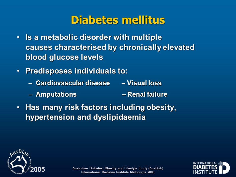 Australian Diabetes, Obesity and Lifestyle Study (AusDiab) International Diabetes Institute Melbourne 2006 2005 Classification values for the oral glucose tolerance test Plasma glucose (mmol/L) World Health Organization.