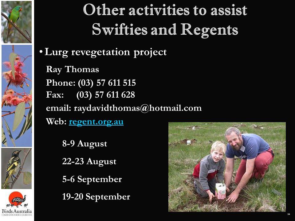 34 Ray Thomas Phone: (03) 57 611 515 Fax: (03) 57 611 628 email: raydavidthomas@hotmail.com Web: regent.org.auregent.org.au 8-9 August 22-23 August 5-