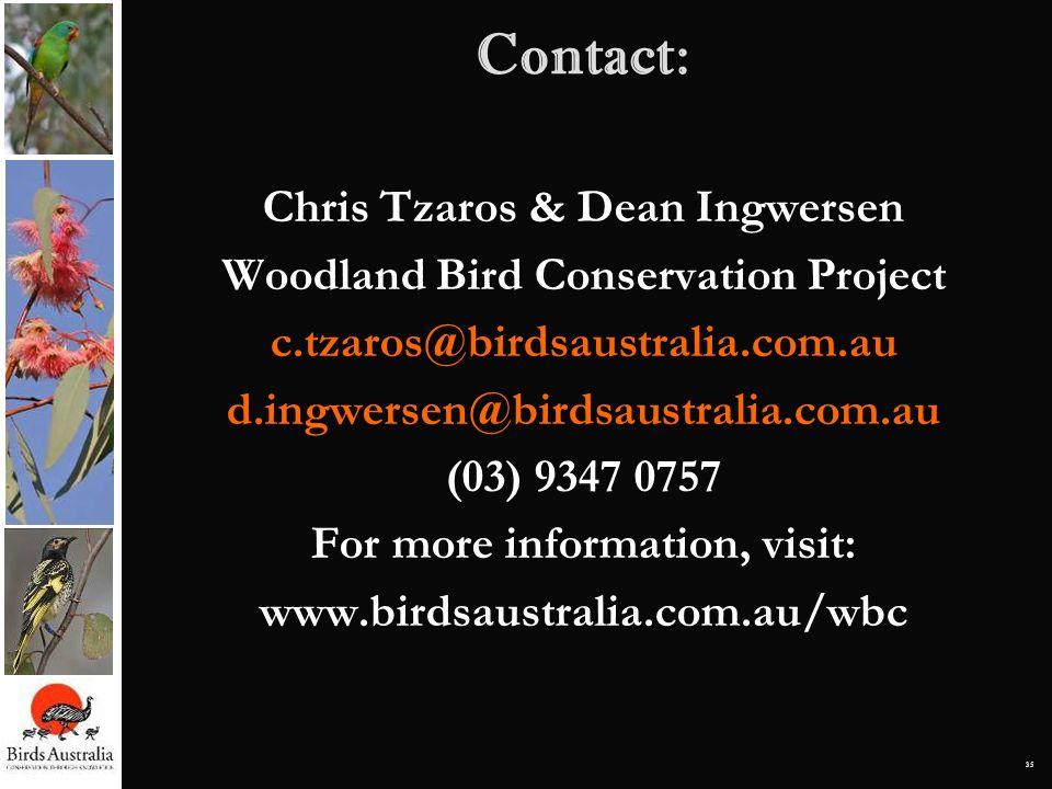 35 Contact: Chris Tzaros & Dean Ingwersen Woodland Bird Conservation Project c.tzaros@birdsaustralia.com.au d.ingwersen@birdsaustralia.com.au (03) 934