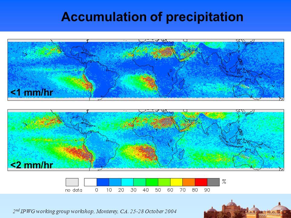 Accumulation of precipitation <1 mm/hr <2 mm/hr 2 nd IPWG working group workshop, Monterey, CA. 25-28 October 2004