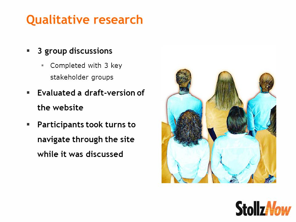 Qualitative research 3 group discussions Completed with 3 key stakeholder groups Evaluated a draft-version of the website Participants took turns to navigate through the site while it was discussed