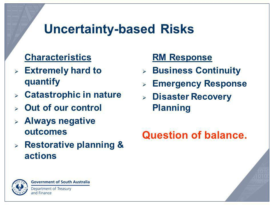Uncertainty-based Risks Characteristics Extremely hard to quantify Catastrophic in nature Out of our control Always negative outcomes Restorative plan