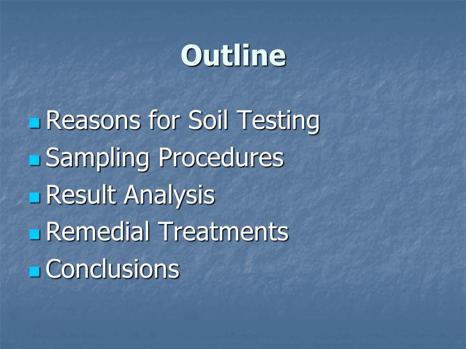 Outline Reasons for Soil Testing Reasons for Soil Testing Sampling Procedures Sampling Procedures Result Analysis Result Analysis Remedial Treatments Remedial Treatments Conclusions Conclusions