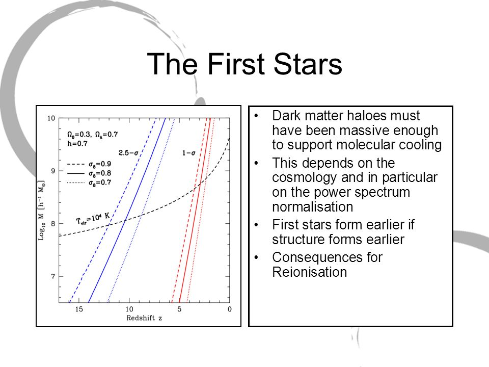 Dark matter haloes must have been massive enough to support molecular cooling This depends on the cosmology and in particular on the power spectrum normalisation First stars form earlier if structure forms earlier Consequences for Reionisation The First Stars