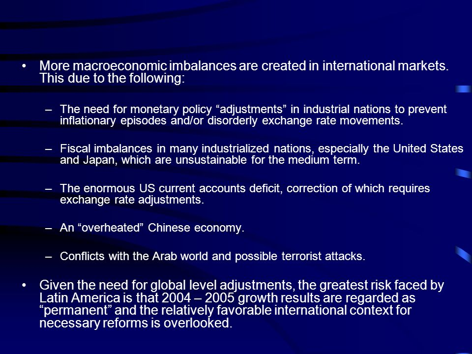 More macroeconomic imbalances are created in international markets.