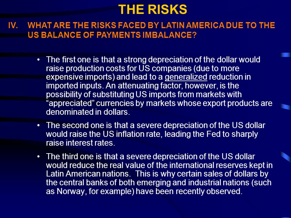 IV.WHAT ARE THE RISKS FACED BY LATIN AMERICA DUE TO THE US BALANCE OF PAYMENTS IMBALANCE.