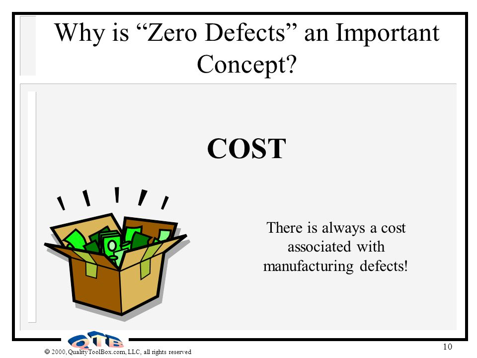 2000, QualityToolBox.com, LLC, all rights reserved 10 Why is Zero Defects an Important Concept? COST There is always a cost associated with manufactur