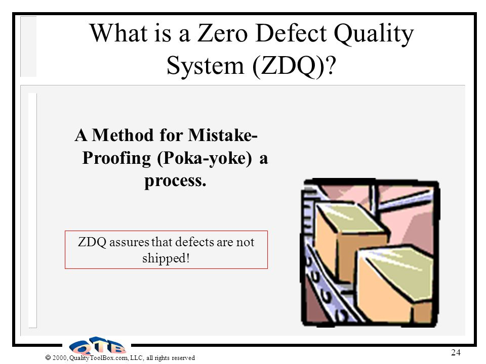 2000, QualityToolBox.com, LLC, all rights reserved 24 What is a Zero Defect Quality System (ZDQ)? A Method for Mistake- Proofing (Poka-yoke) a process