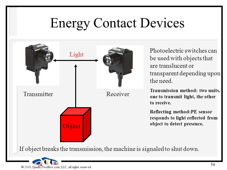 2000, QualityToolBox.com, LLC, all rights reserved 56 Energy Contact Devices Photoelectric switches can be used with objects that are translucent or t