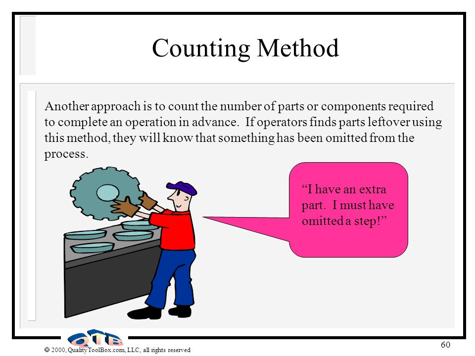 2000, QualityToolBox.com, LLC, all rights reserved 60 Counting Method Another approach is to count the number of parts or components required to compl