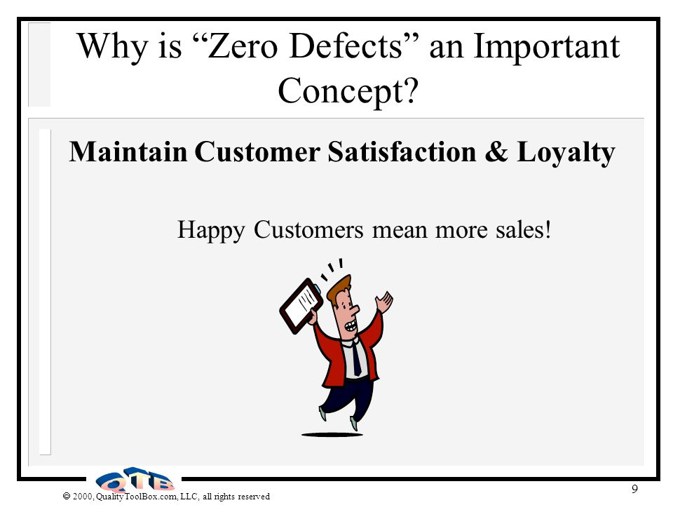 2000, QualityToolBox.com, LLC, all rights reserved 9 Why is Zero Defects an Important Concept? Maintain Customer Satisfaction & Loyalty Happy Customer