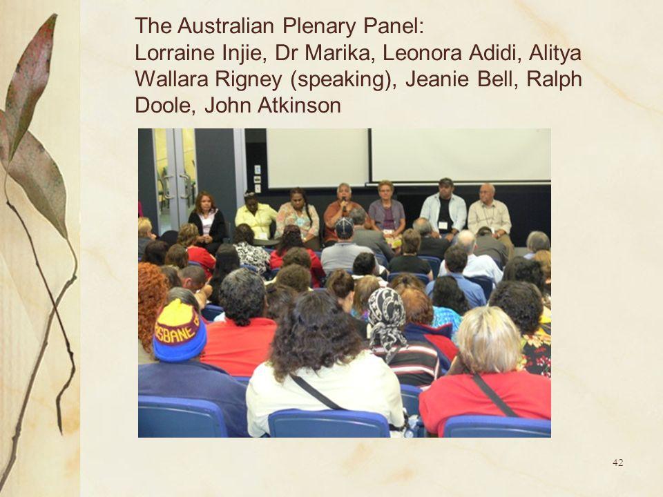 42 The Australian Plenary Panel: Lorraine Injie, Dr Marika, Leonora Adidi, Alitya Wallara Rigney (speaking), Jeanie Bell, Ralph Doole, John Atkinson