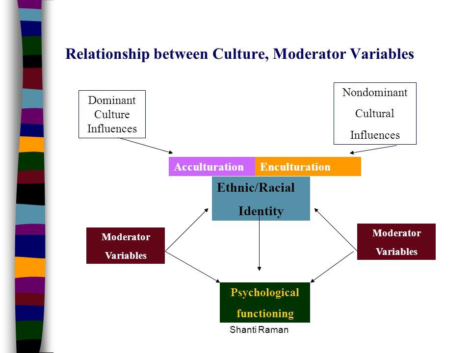 Shanti Raman Relationship between Culture, Moderator Variables Dominant Culture Influences Nondominant Cultural Influences AcculturationEnculturation
