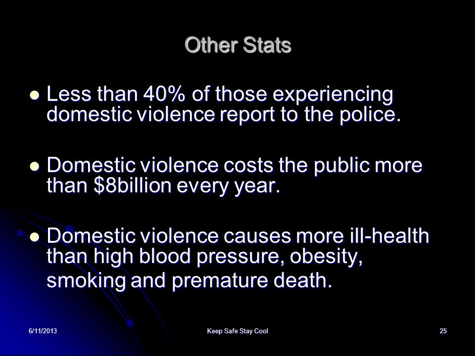 6/11/2013Keep Safe Stay Cool25 Other Stats Less than 40% of those experiencing domestic violence report to the police. Less than 40% of those experien