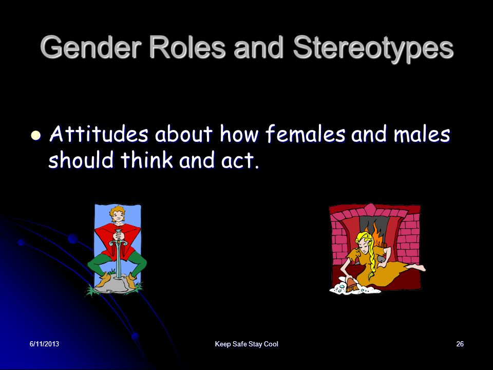 6/11/2013Keep Safe Stay Cool26 Gender Roles and Stereotypes Attitudes about how females and males should think and act. Attitudes about how females an