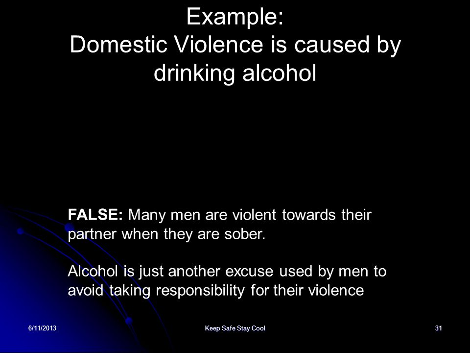 6/11/2013Keep Safe Stay Cool31 Example: Domestic Violence is caused by drinking alcohol FALSE: Many men are violent towards their partner when they ar