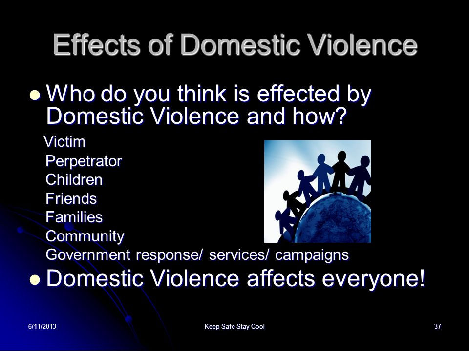 6/11/2013Keep Safe Stay Cool37 Effects of Domestic Violence Who do you think is effected by Domestic Violence and how? Who do you think is effected by