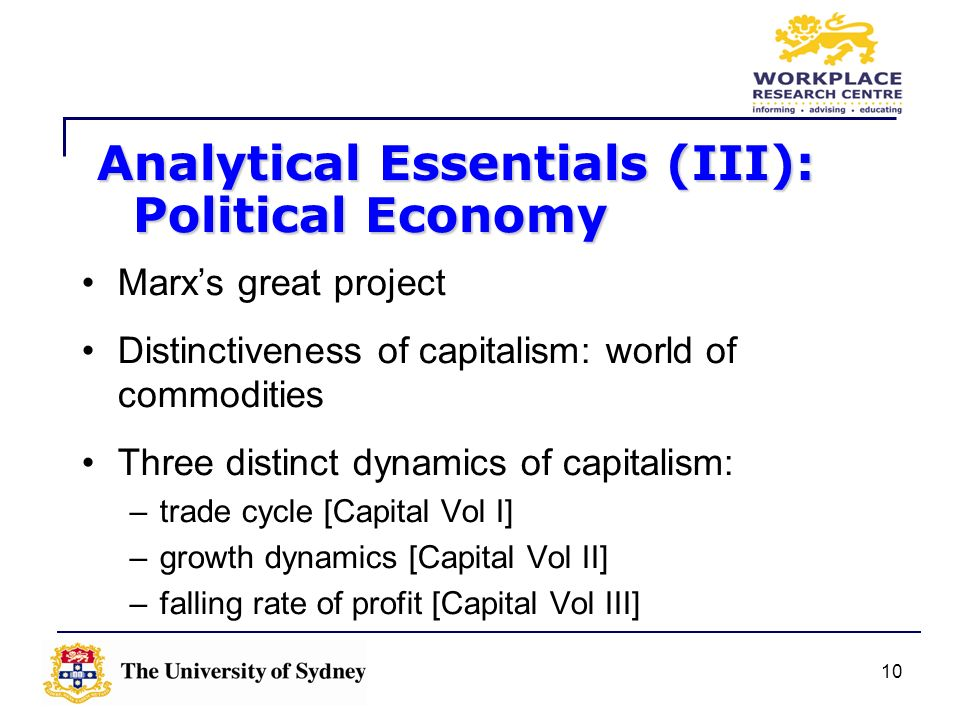 10 Marxs great project Distinctiveness of capitalism: world of commodities Three distinct dynamics of capitalism: –trade cycle [Capital Vol I] –growth