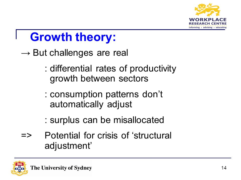 14 But challenges are real : differential rates of productivity growth between sectors : consumption patterns dont automatically adjust : surplus can
