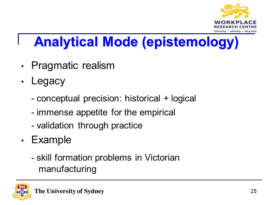 25 Analytical Mode (epistemology) Pragmatic realism Legacy - conceptual precision: historical + logical - immense appetite for the empirical - validat