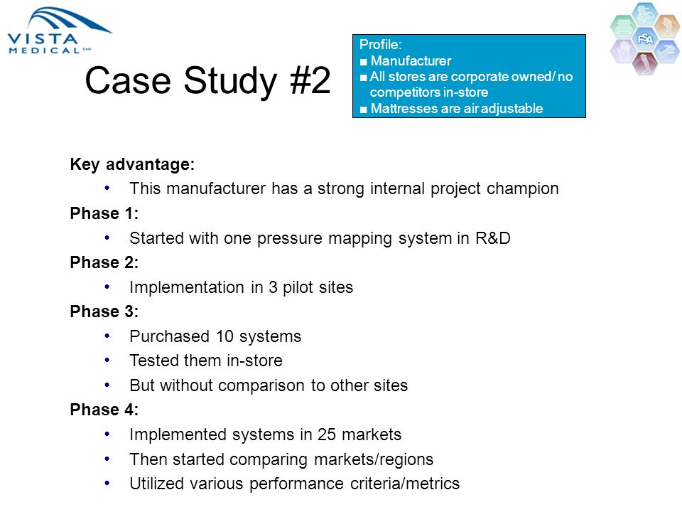Key advantage: This manufacturer has a strong internal project champion Phase 1: Started with one pressure mapping system in R&D Phase 2: Implementati