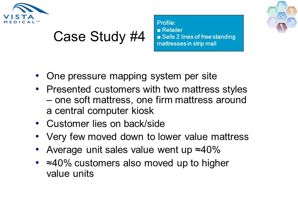 Case Study #4 One pressure mapping system per site Presented customers with two mattress styles – one soft mattress, one firm mattress around a centra