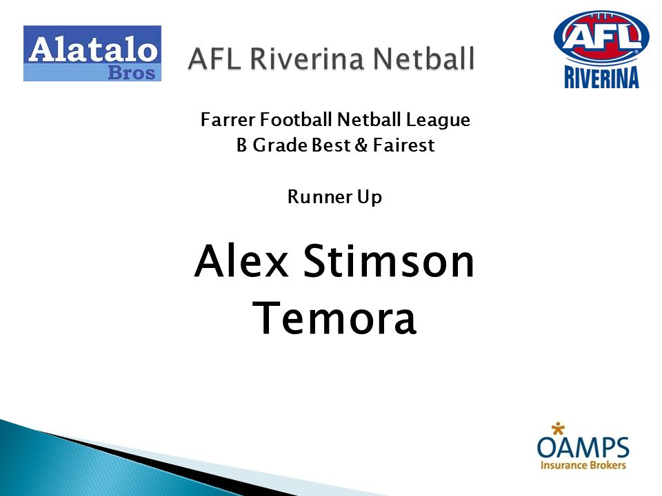 Farrer Football Netball League B Grade Best & Fairest Runner Up Alex Stimson Temora AFL Riverina Netball