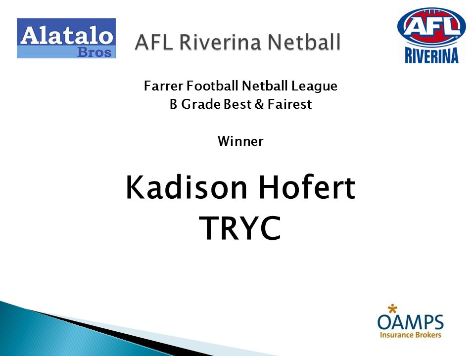 Farrer Football Netball League B Grade Best & Fairest Winner Kadison Hofert TRYC AFL Riverina Netball