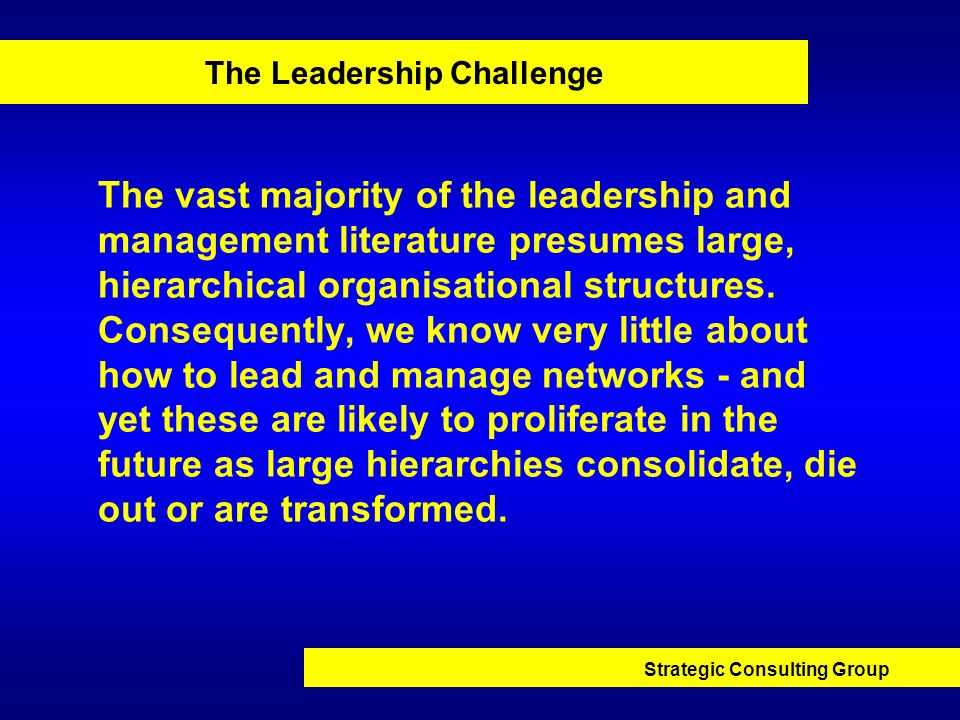 Strategic Consulting Group The Leadership Challenge The vast majority of the leadership and management literature presumes large, hierarchical organis