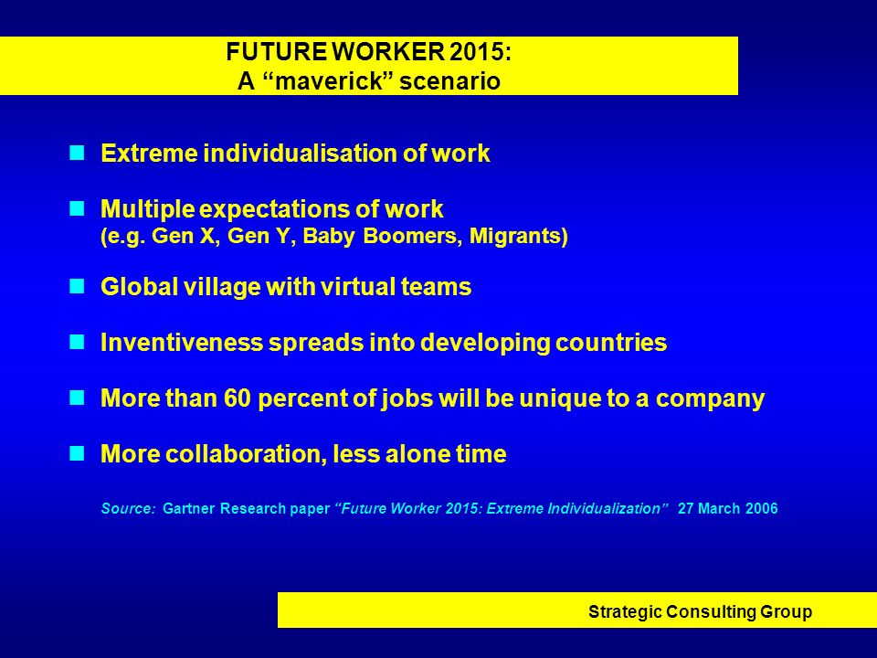 Strategic Consulting Group FUTURE WORKER 2015: A maverick scenario Extreme individualisation of work Multiple expectations of work (e.g. Gen X, Gen Y,