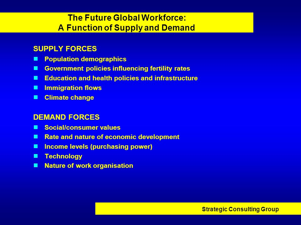 Strategic Consulting Group The Future Global Workforce: A Function of Supply and Demand SUPPLY FORCES Population demographics Government policies infl
