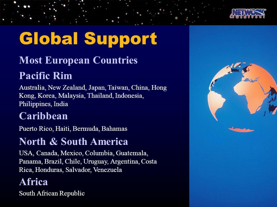 Most European Countries Pacific Rim Australia, New Zealand, Japan, Taiwan, China, Hong Kong, Korea, Malaysia, Thailand, Indonesia, Philippines, India
