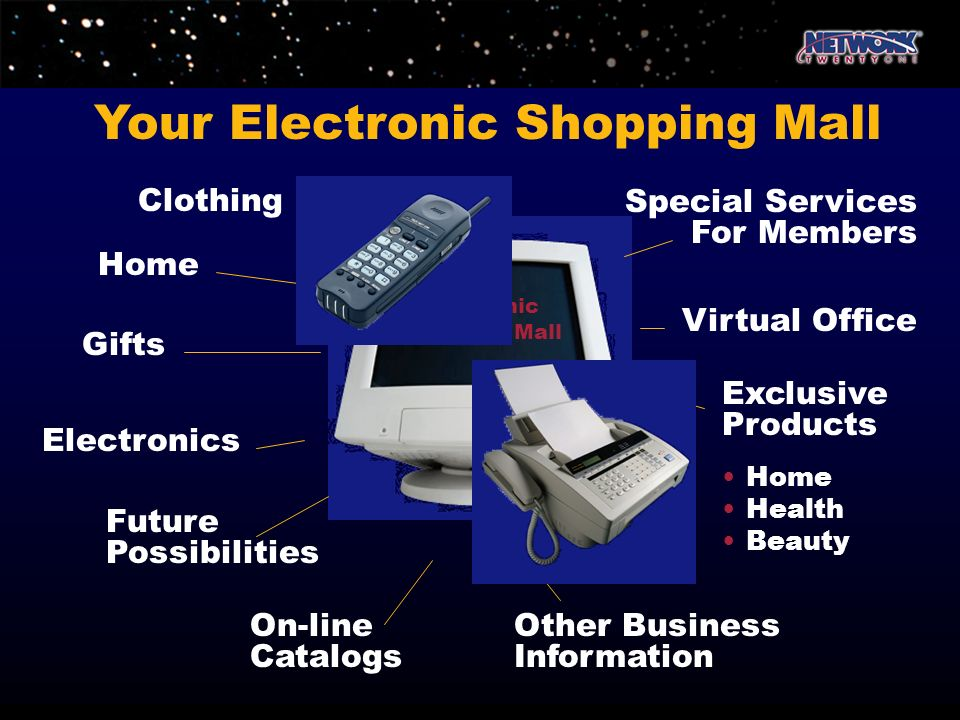 Your Electronic Shopping Mall Clothing Home Gifts Electronics Future Possibilities Virtual Office Special Services For Members Other Business Informat
