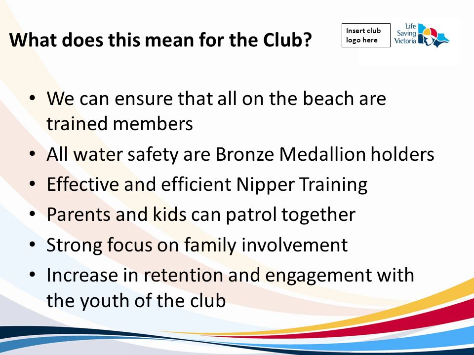 Insert club logo here What does this mean for the Club? We can ensure that all on the beach are trained members All water safety are Bronze Medallion