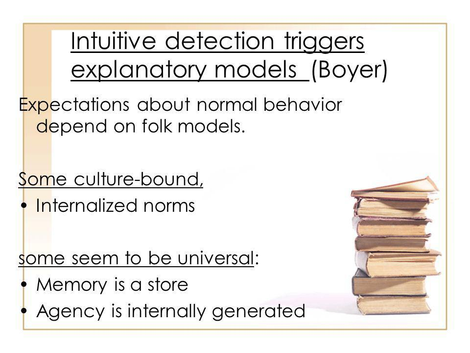 Intuitive detection triggers explanatory models (Boyer) Expectations about normal behavior depend on folk models.
