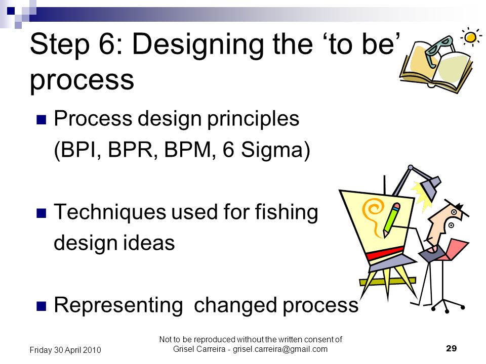 Step 6: Designing the to be process Process design principles (BPI, BPR, BPM, 6 Sigma) Techniques used for fishing design ideas Representing changed p