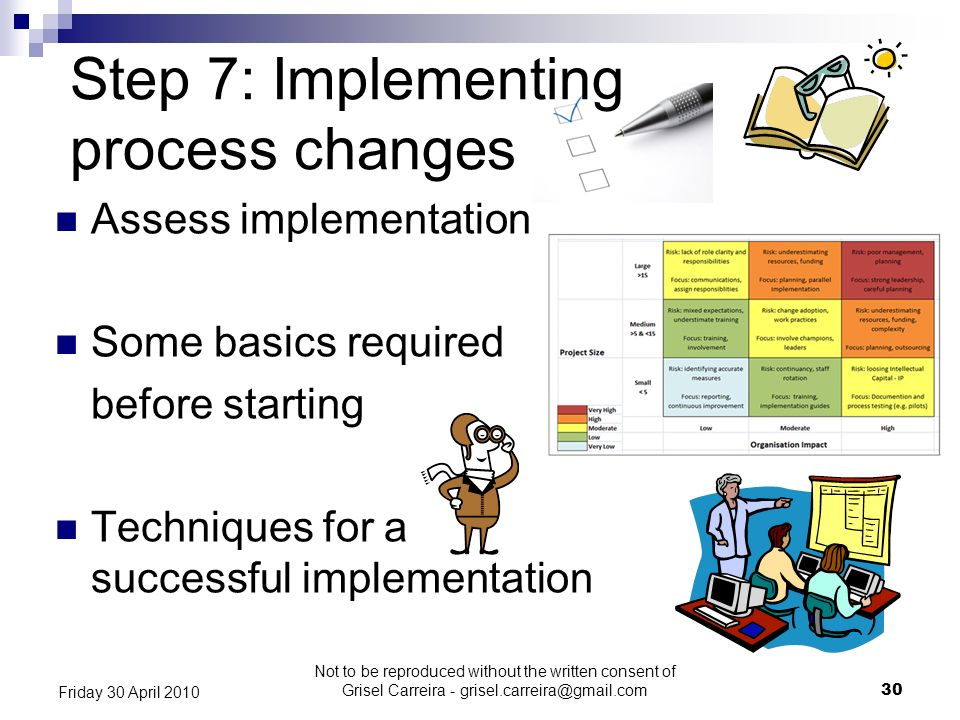 Step 7: Implementing process changes Assess implementation Some basics required before starting Techniques for a successful implementation 30 Friday 3