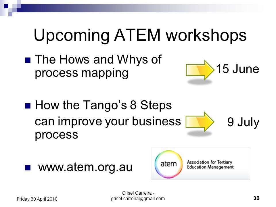 Upcoming ATEM workshops 15 June 9 July Grisel Carreira - grisel.carreira@gmail.com 32 Friday 30 April 2010 The Hows and Whys of process mapping How th