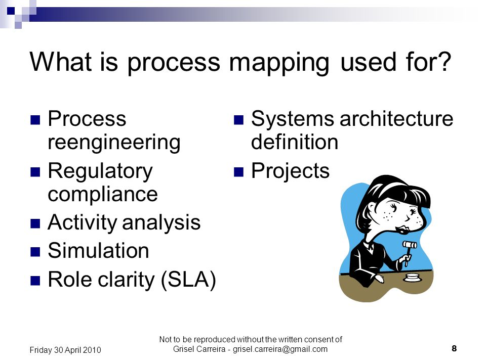 8 Friday 30 April 2010 What is process mapping used for? Process reengineering Regulatory compliance Activity analysis Simulation Role clarity (SLA) S