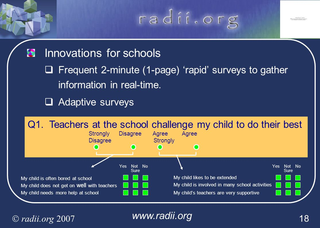 www.radii.org radii.org 2007 18 Innovations for schools Frequent 2-minute (1-page) rapid surveys to gather information in real-time. Adaptive surveys