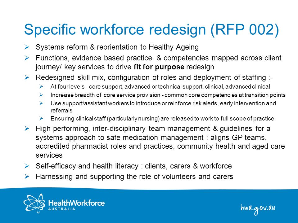 12 Specific workforce redesign (RFP 002) Systems reform & reorientation to Healthy Ageing Functions, evidence based practice & competencies mapped acr