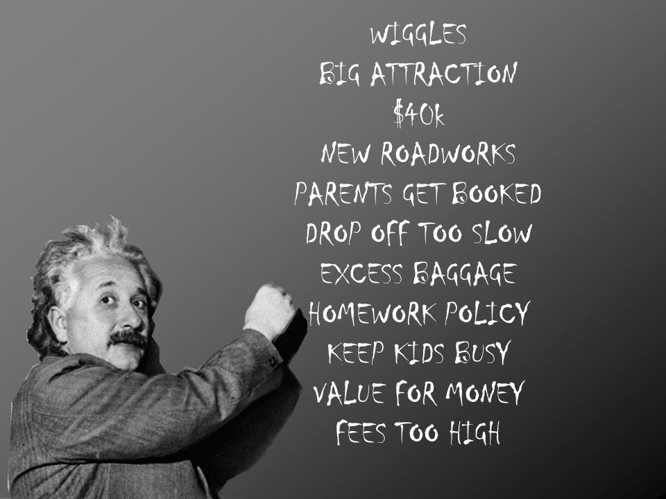 WIGGLES BIG ATTRACTION $40k NEW ROADWORKS PARENTS GET BOOKED DROP OFF TOO SLOW EXCESS BAGGAGE HOMEWORK POLICY KEEP KIDS BUSY VALUE FOR MONEY FEES TOO HIGH