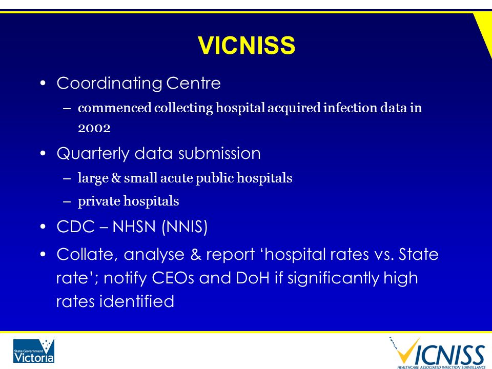 VICNISS Coordinating Centre –commenced collecting hospital acquired infection data in 2002 Quarterly data submission –large & small acute public hospi