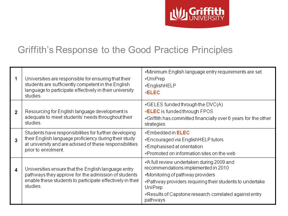 Griffiths Response to the Good Practice Principles 1Universities are responsible for ensuring that their students are sufficiently competent in the En