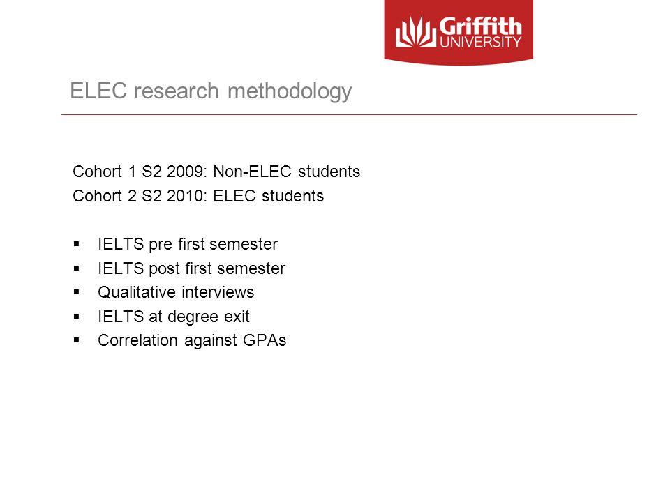 ELEC research methodology Cohort 1 S2 2009: Non-ELEC students Cohort 2 S2 2010: ELEC students IELTS pre first semester IELTS post first semester Quali